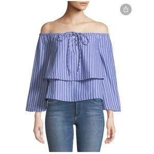 J.O.A. - Off-The-Shoulder Lace-Up Blouse sz M